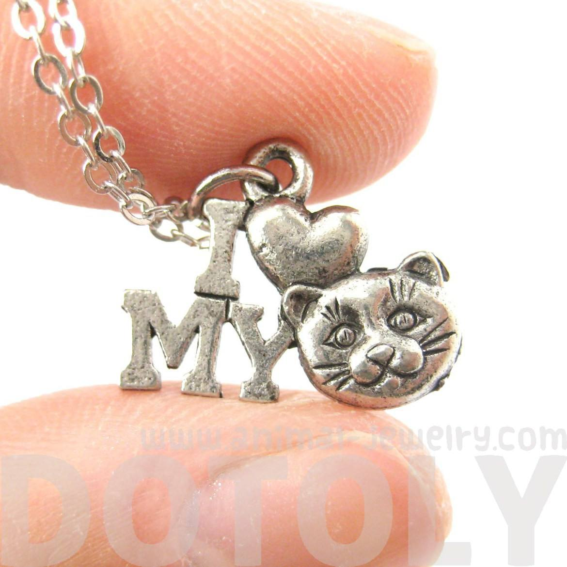 I Love My Kitty Cat Head Charm Necklace in Silver | MADE IN USA