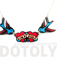 I Love Rock & Roll Sparrow Bird Shaped Tattoo Inspired Acrylic Pendant Necklace