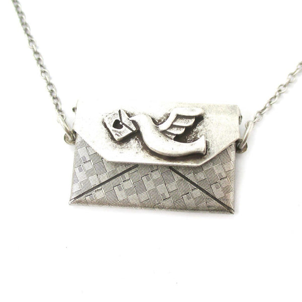 I Love You Envelope Shaped Pendant Necklace in Silver