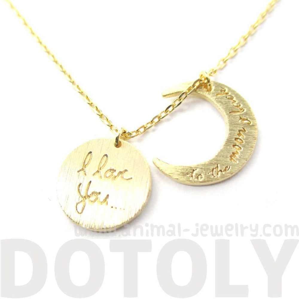 I Love You To the Moon and Back Moon Shaped Charm Necklace in Gold