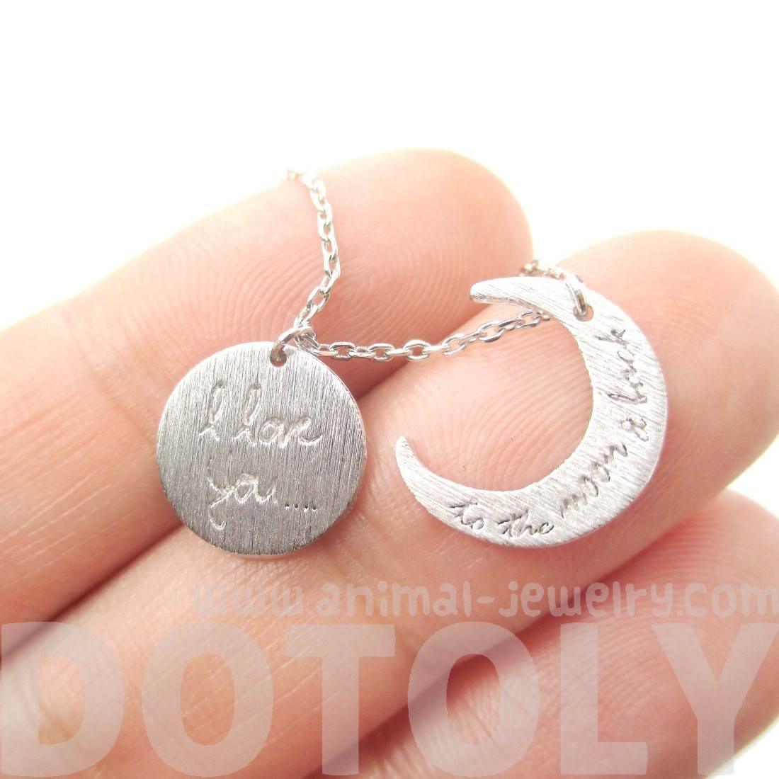 I Love You To the Moon and Back Moon Shaped Charm Necklace in Silver