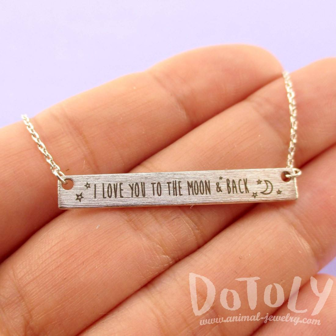 I Love You to the Moon & Back Love Quote Bar Pendant Necklace