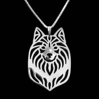 Sheepdog Dog Cut Out Shaped Pendant Necklace in Silver