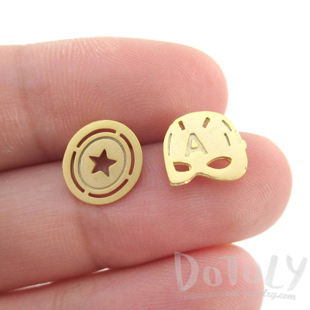 Iconic Captain America Mask Shield Shaped Stud Earrings in Gold | Allergy Free | DOTOLY