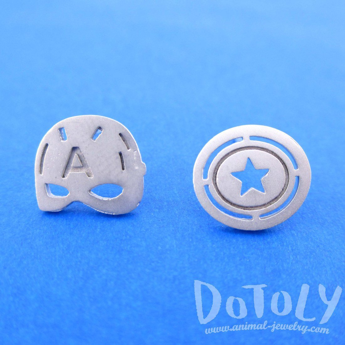 Silver Captain America Mask Shield Shaped Stud Earrings