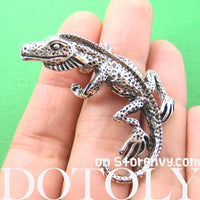 Iguana Chameleon Lizard Realistic Animal Wrap Ear Cuff in Silver | DOTOLY