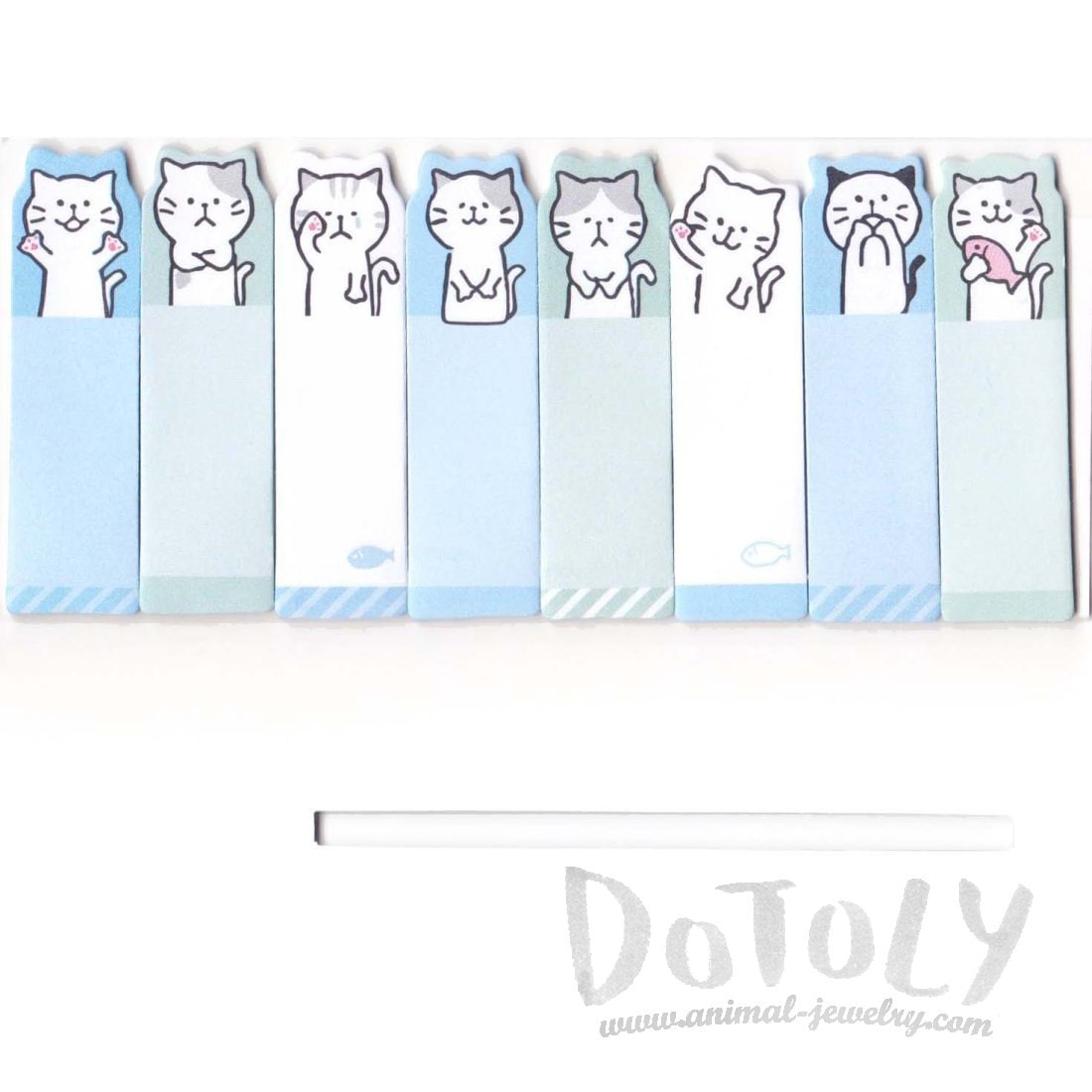 Illustrated Cartoon Kitty Cat Shaped Memo Post-it Index Bookmark Tabs