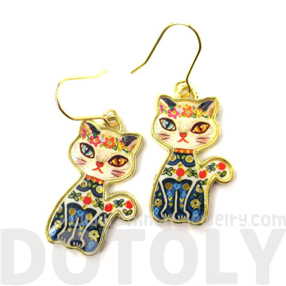 Floral Kitty Cat Illustrated Animal Dangle Earrings