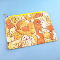 Illustrated Golden Retriever Puppy Dog Collage Print Rectangular Make Up Bag | DOTOLY