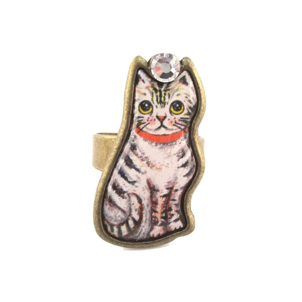 Illustrated Grey and White Tabby Kitty Cat Adjustable Ring | DOTOLY