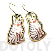 Cute Illustrated Grey and White Tabby Kitty Cat Animal Dangle Earrings