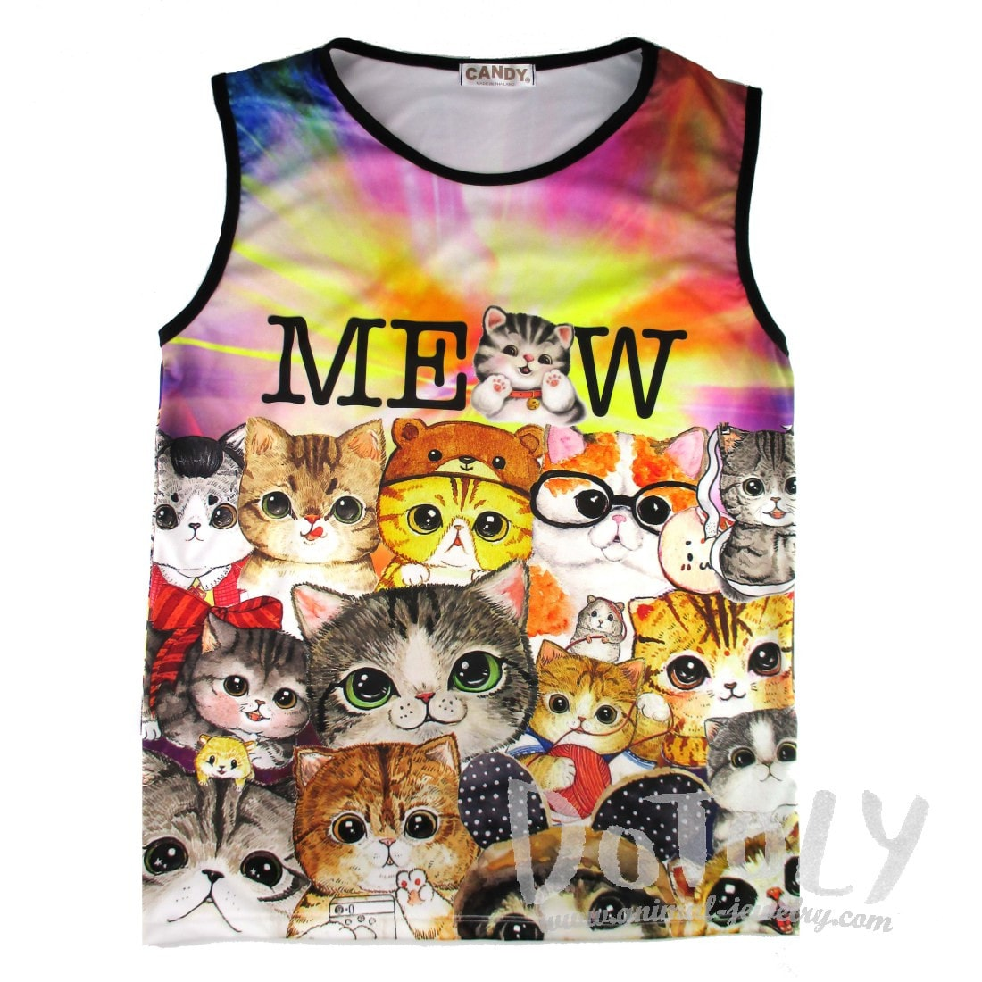 Illustrated Kitty Cat Collage Graphic Print Oversized Unisex Tank Top
