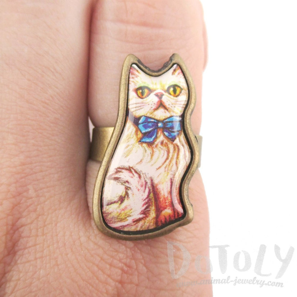Illustrated Kitty Cat Shaped Adjustable Ring in White with Blue Bow