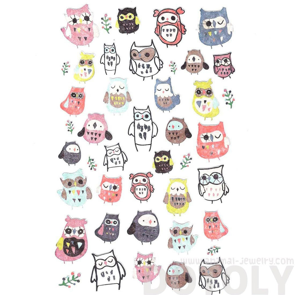 Illustrated Owls in Different Shapes Animal Themed Stickers for Scrapbooking | DOTOLY