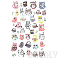 Beautifully Illustrated Owls Animal Themed Stickers for Scrapbooking