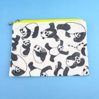 Illustrated Panda Bear Collage Print Rectangular Make Up Bag | DOTOLY