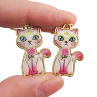 Illustrated White Kitty Cat with Roses Shaped Dangle Earrings | DOTOLY