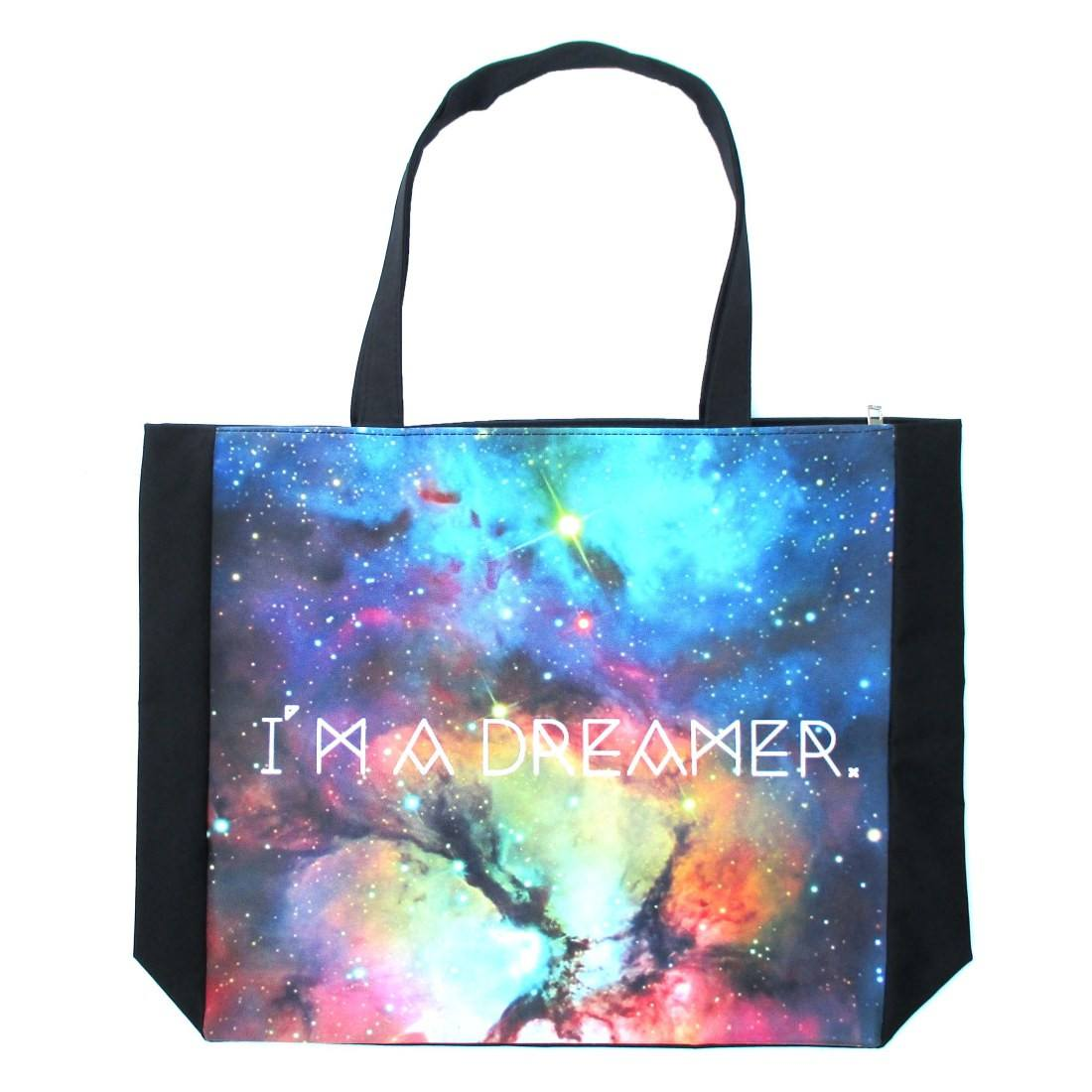 Starry Night Universe I'm A Dreamer Print Shopper Tote Shoulder Bag