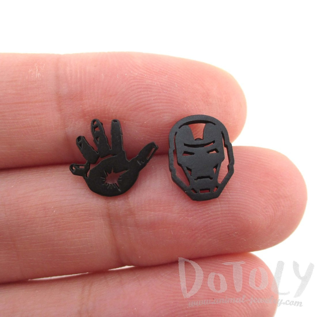 Iron Man Mask and Glove Shaped Stud Earrings in Black | DOTOLY