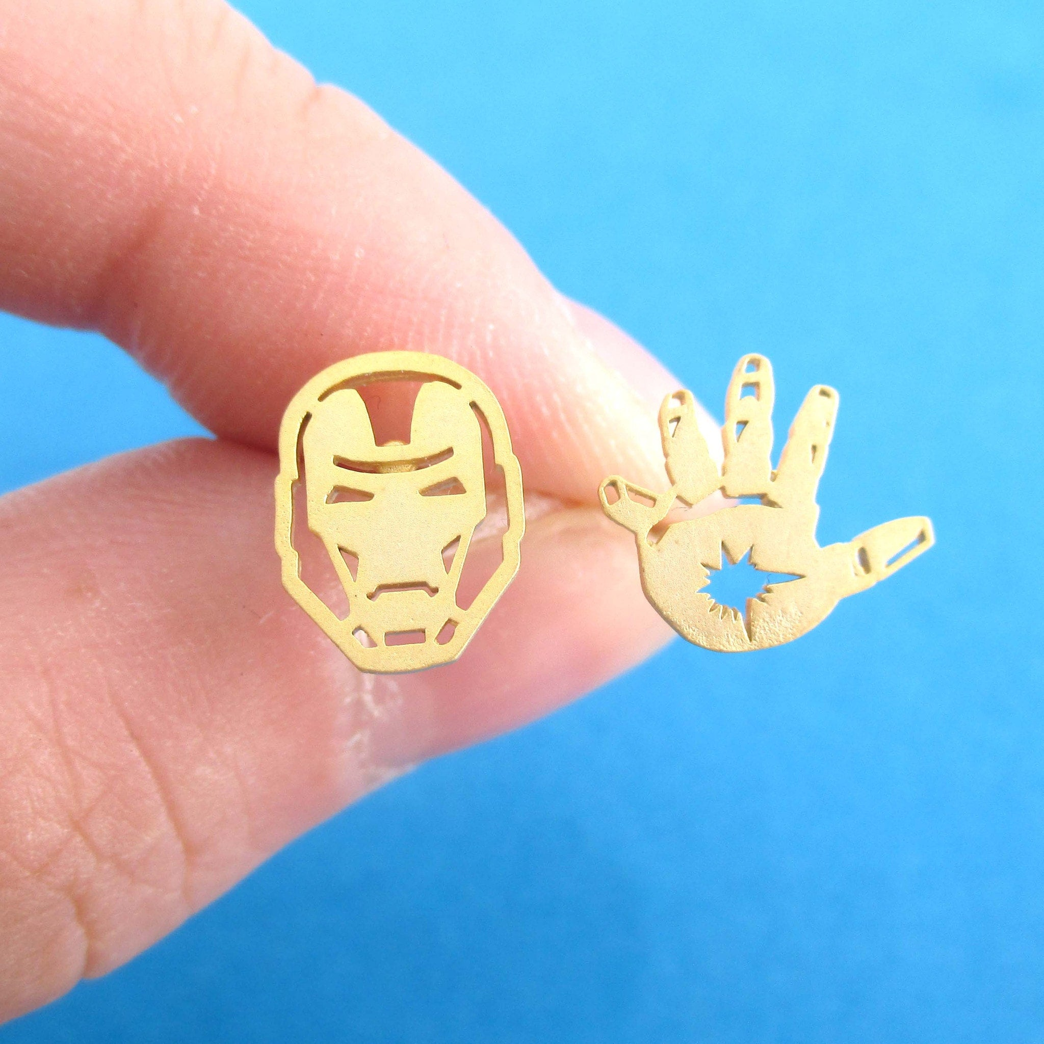 Iron Man Mask and Glove Shaped Stud Earrings in Gold