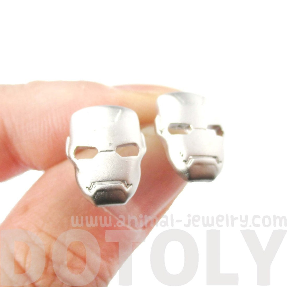 Iron Man Mask Shaped Stud Earrings in Silver | Super Heroes
