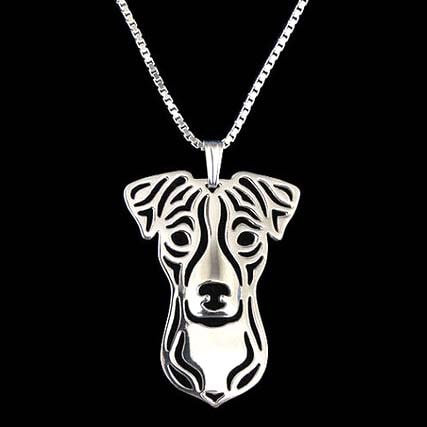 Jack Russell Terrier Shaped Pendant Necklace in Silver