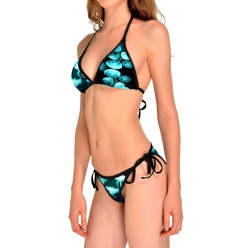 Jellyfish All Over Print Triangle Bikini Set in Blue | DOTOLY
