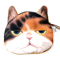 Judgemental Kitty Cat With Annoyed Look Face Shaped Soft Fabric Zipper Coin Purse Make Up Bag | DOTOLY