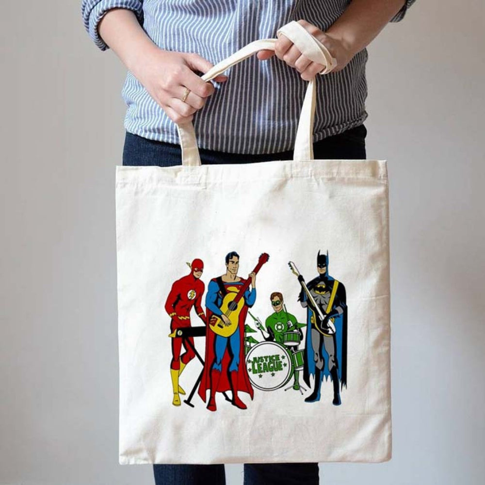 Justice League Band Superman Batman Flash Green Lantern Canvas Tote Bag | DOTOLY