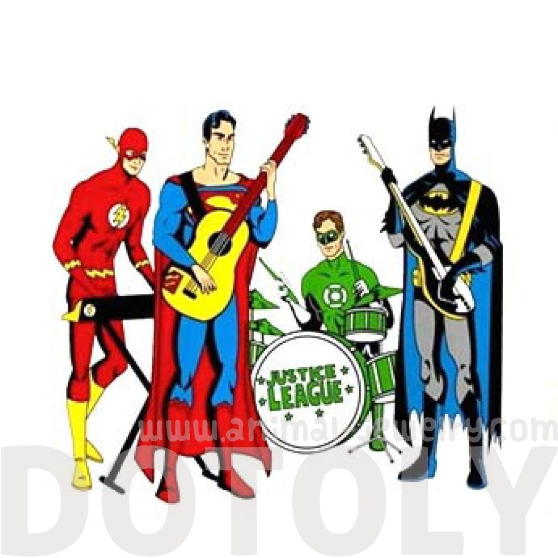 Justice League Band Illustration Canvas Tote Shopper Bag | DC Comics