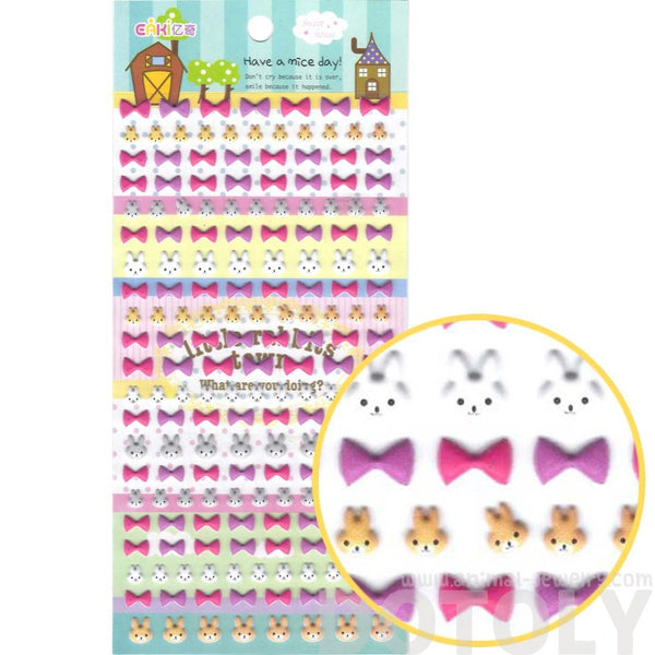 Kawaii Bunny Rabbit & Ribbon Bows Shaped Animal Themed Puffy Stickers
