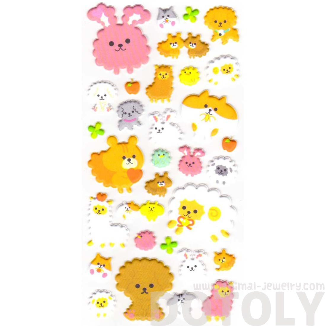 Kawaii Bunny Rabbit Sheep Alpaca Animal Shaped Stickers