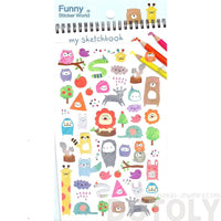 Kawaii Cartoon Bears Elephant Raccoon Giraffe Animal Shaped Stickers