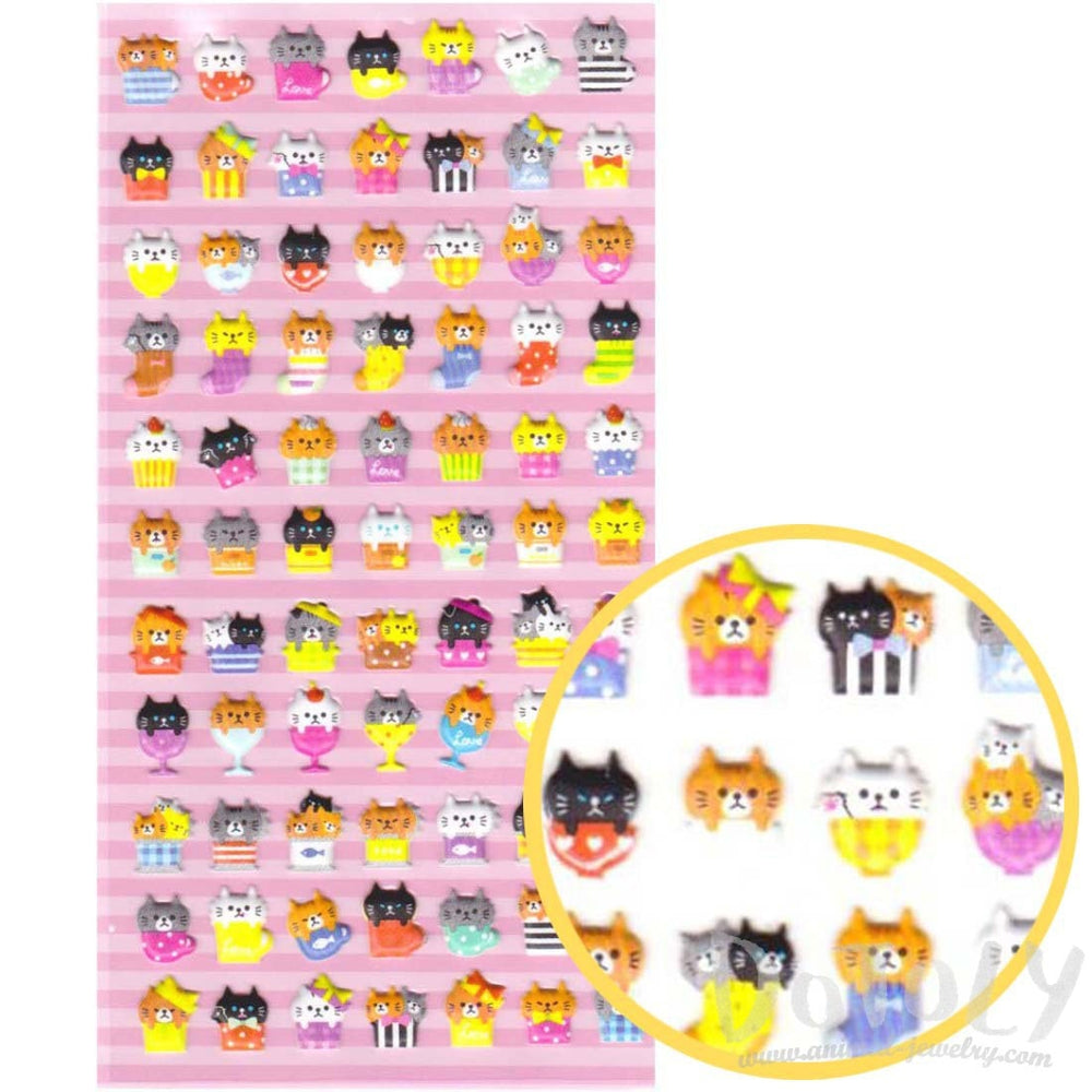 Kawaii Kitty Cat Cupcakes Shaped Animal Puffy Stickers