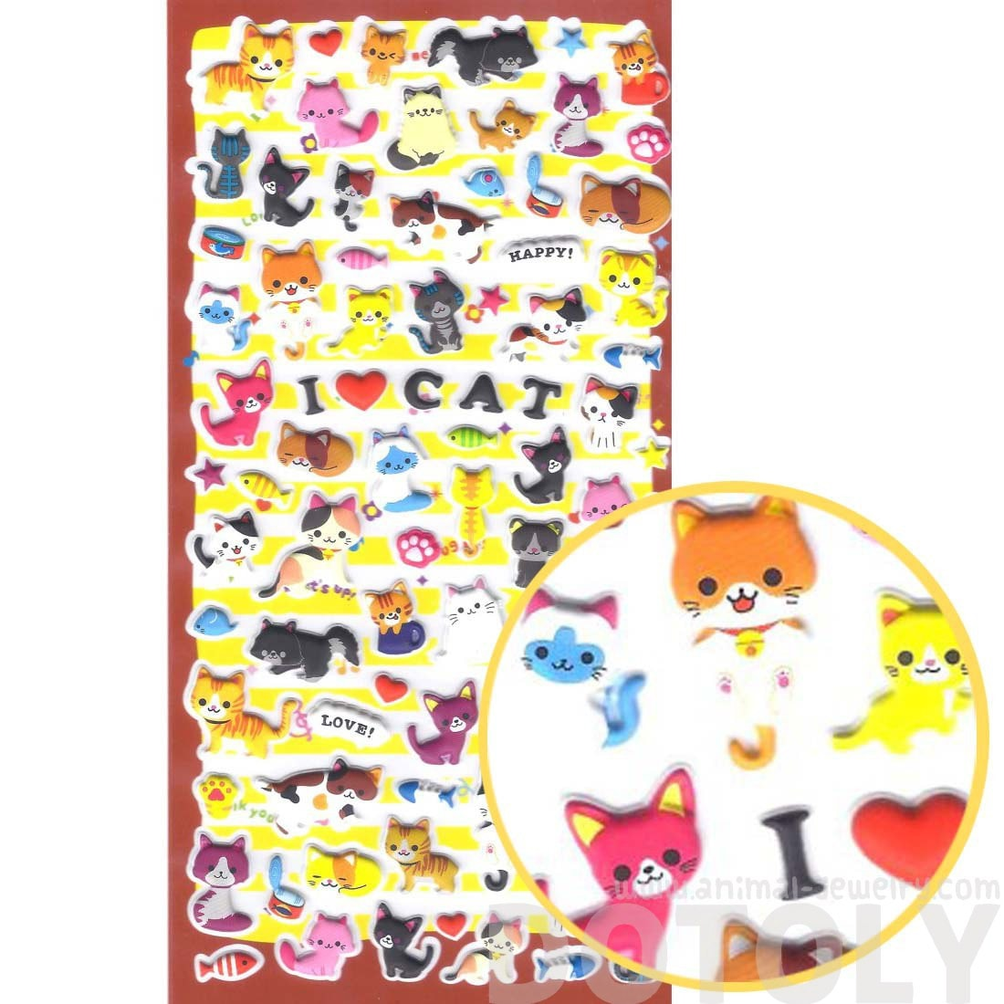 Kawaii Kitty Cat Shaped Japanese Animal Themed Puffy Sticker Seals