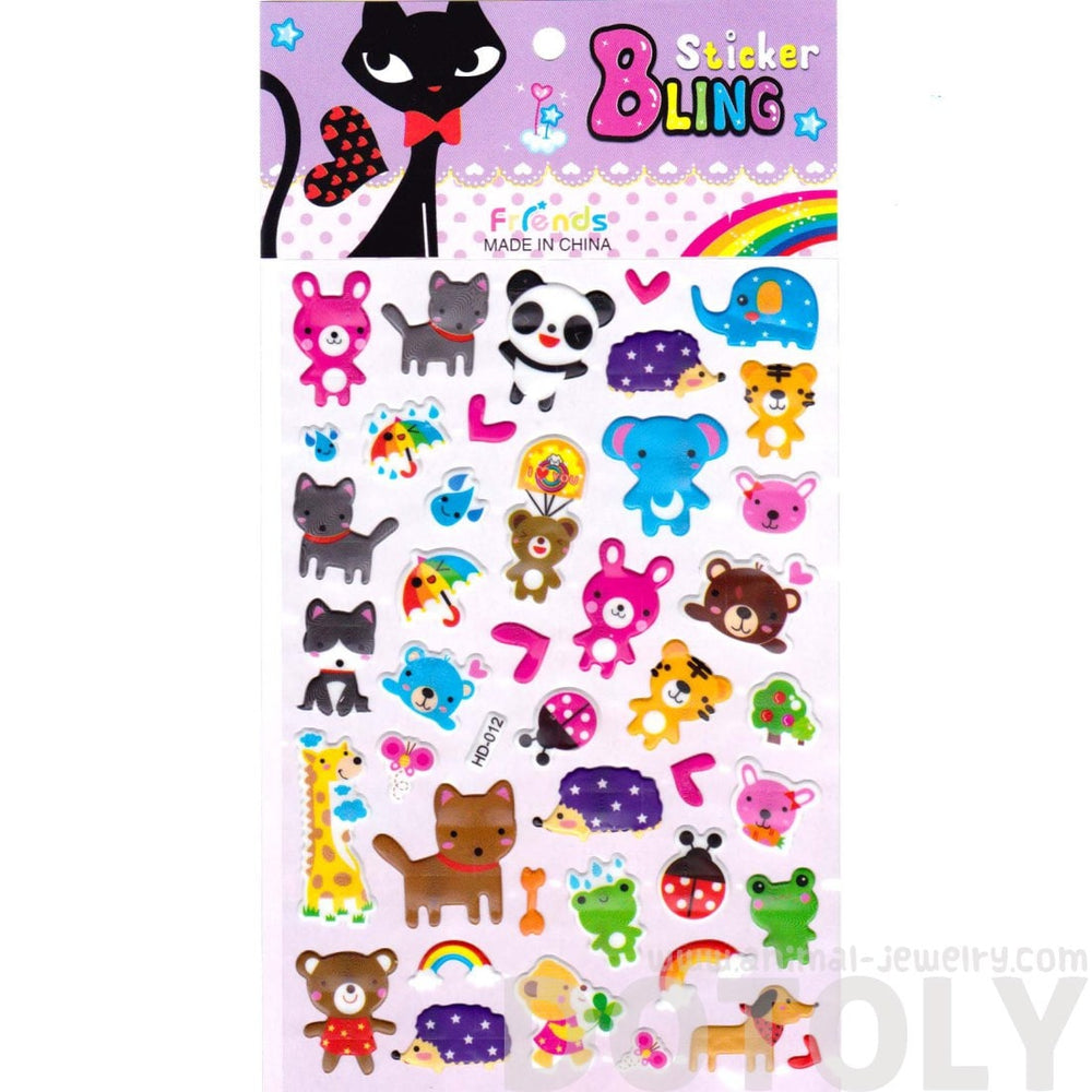 Kawaii Animal Elephant Panda Tiger Frog Puffy Scrapbooking Stickers