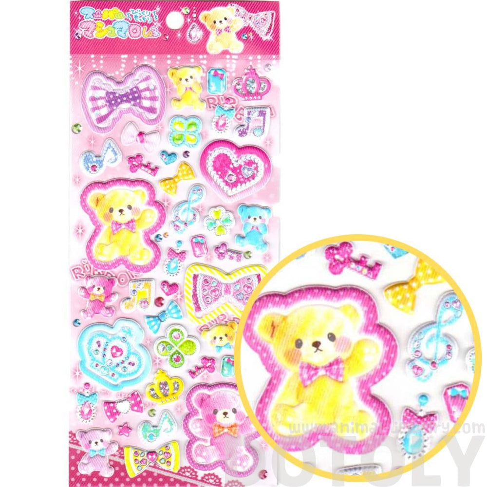 Kawaii Teddy Bears Crowns Hearts Bows Puffy Stickers