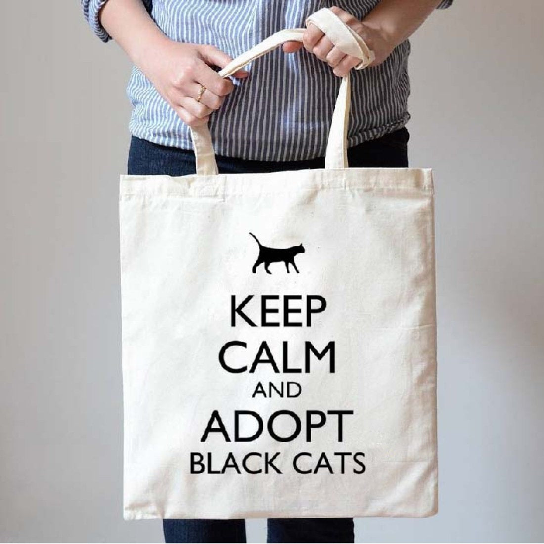 Keep Calm and Adopt Black Cats Print Natural Canvas Tote Shopper Bag