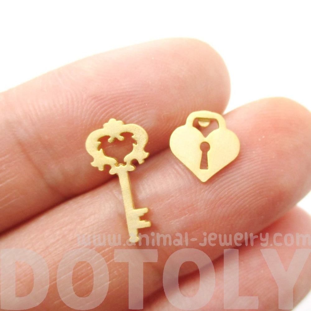 Key To My Heart Skeleton Key & Heart Shaped Lock Stud Earrings in Gold