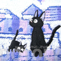 Kiki's Delivery Service Embroidered Black Kitty Cat Handkerchief Face Towel | Studio Ghibli Japan | DOTOLY