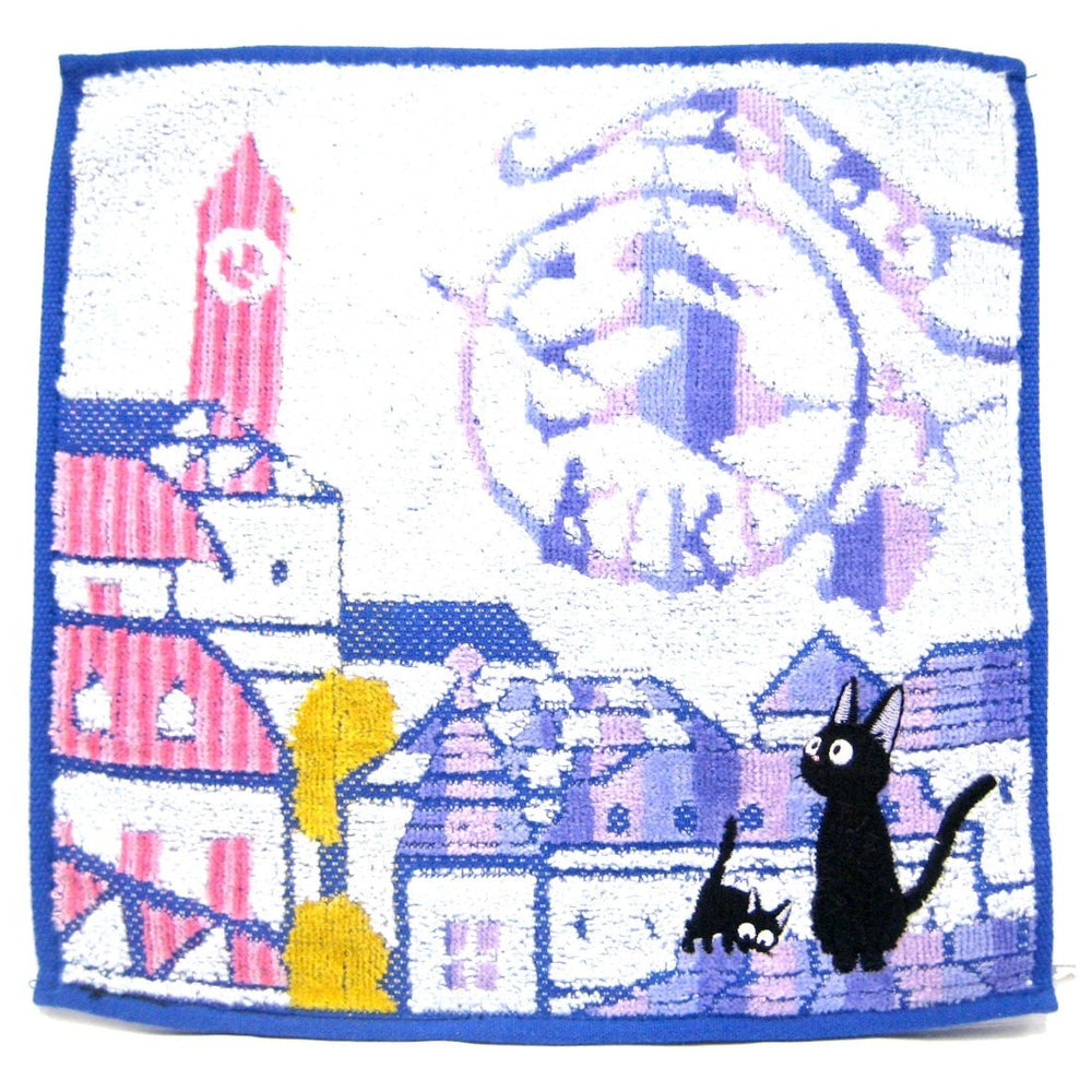 Kiki's Delivery Service Embroidered Black Kitty Cat Handkerchief Towel