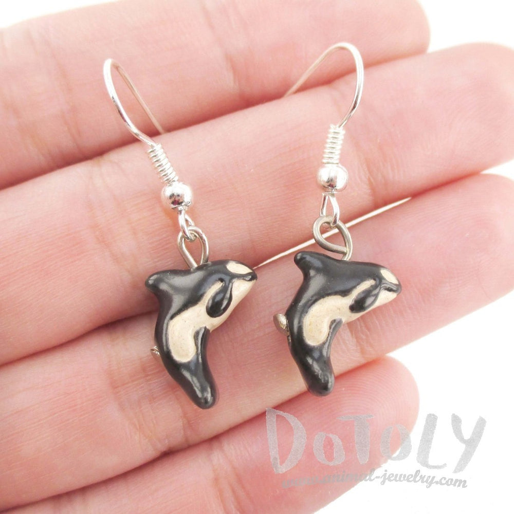Killer Whale Shaped Porcelain Ceramic Animal Themed Dangle Earrings