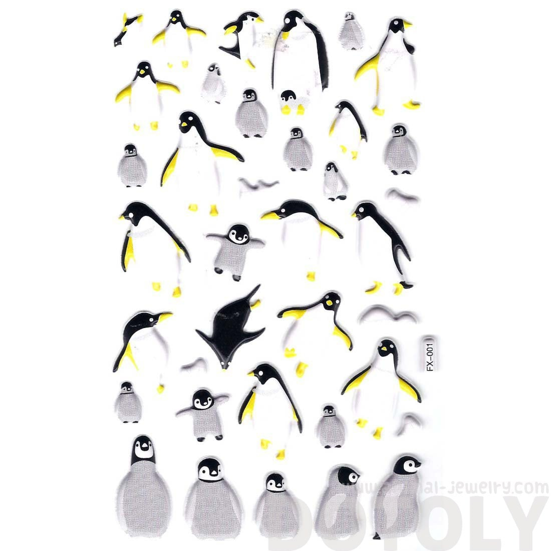 Classic King Penguin Shaped Animal Themed Puffy Decorative Stickers
