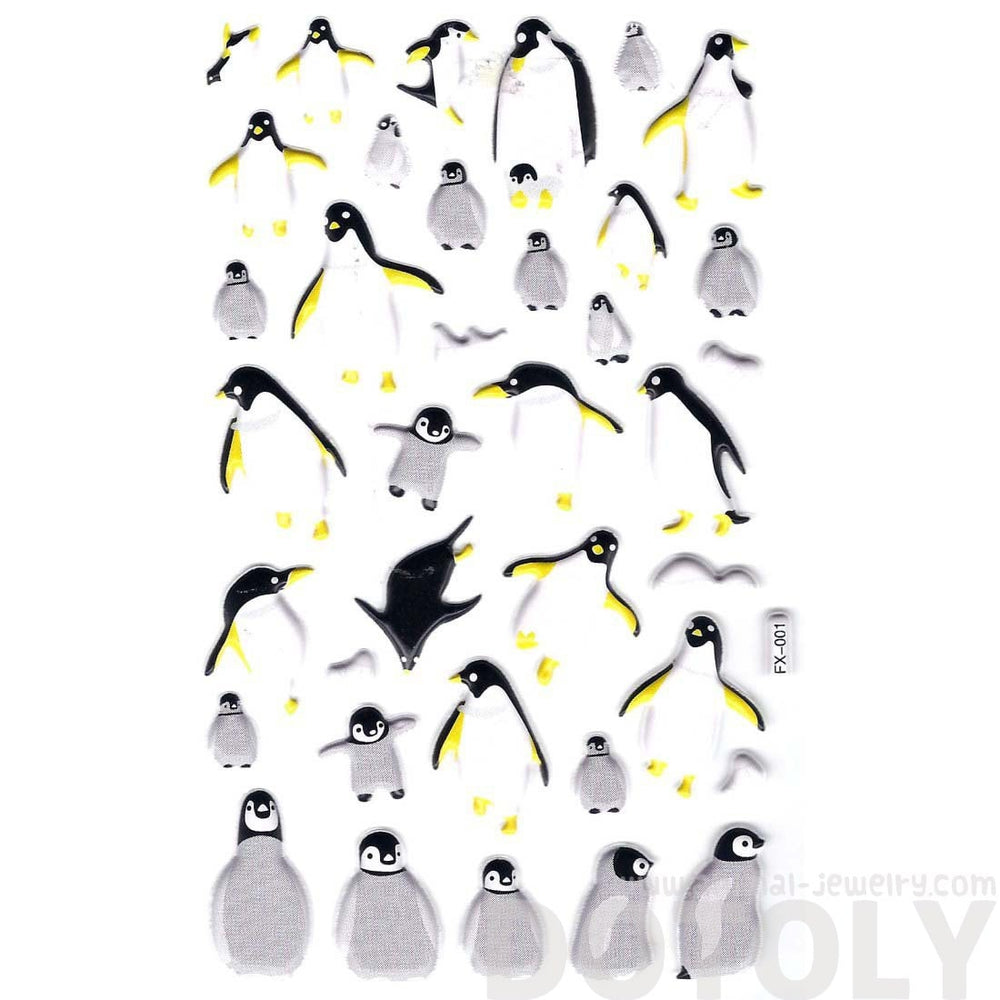 King Penguin Shaped Animal Themed Puffy Stickers for Decorating | DOTOLY