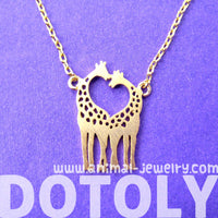 Kissing Giraffe Animal Shaped Silhouette Charm Bracelet in Gold | DOTOLY | DOTOLY
