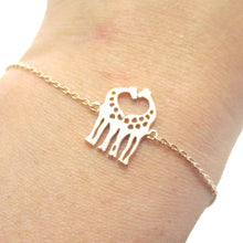 Giraffe Shaped Silhouette Charm Bracelet in Rose Gold