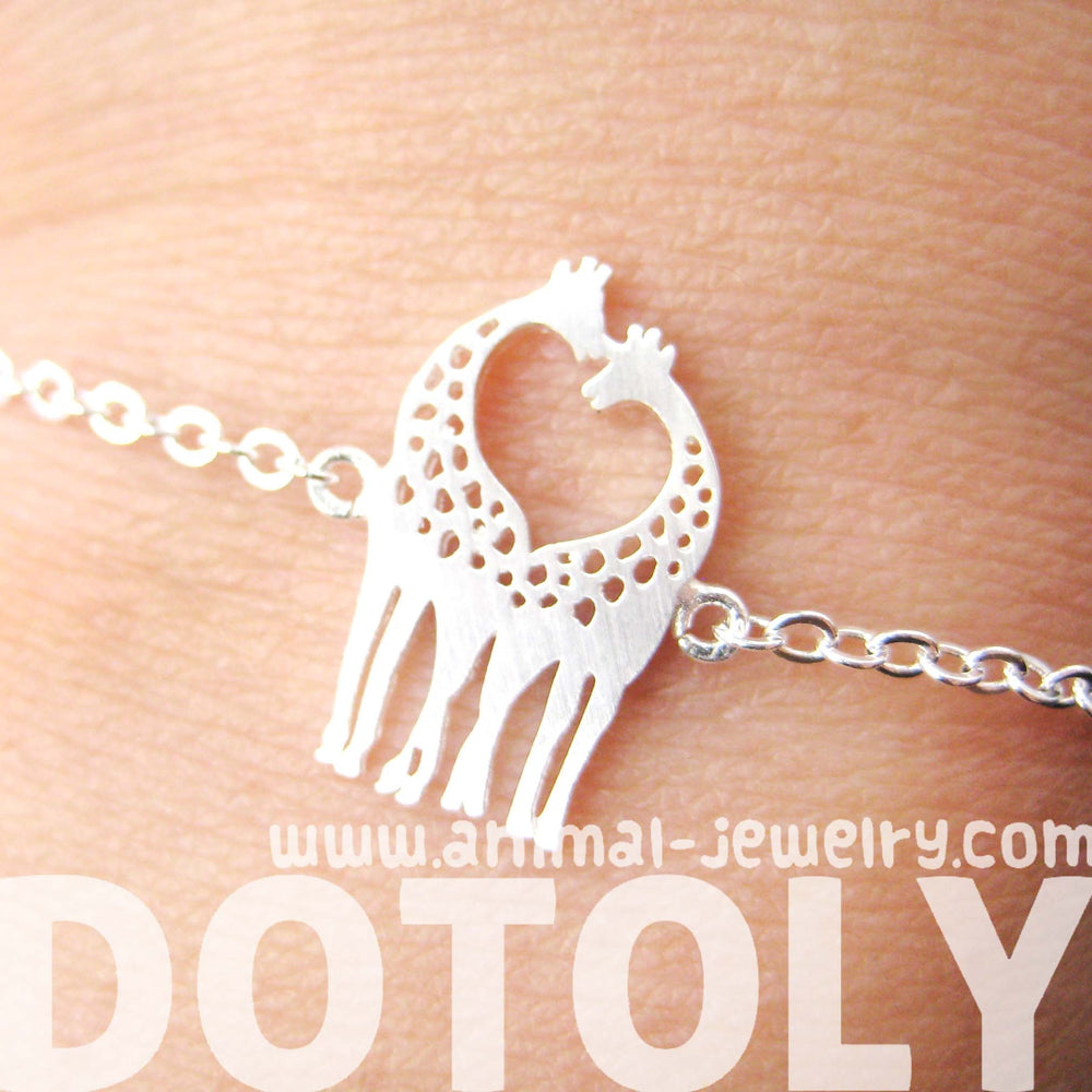Kissing Giraffe Animal Shaped Silhouette Charm Bracelet in Silver