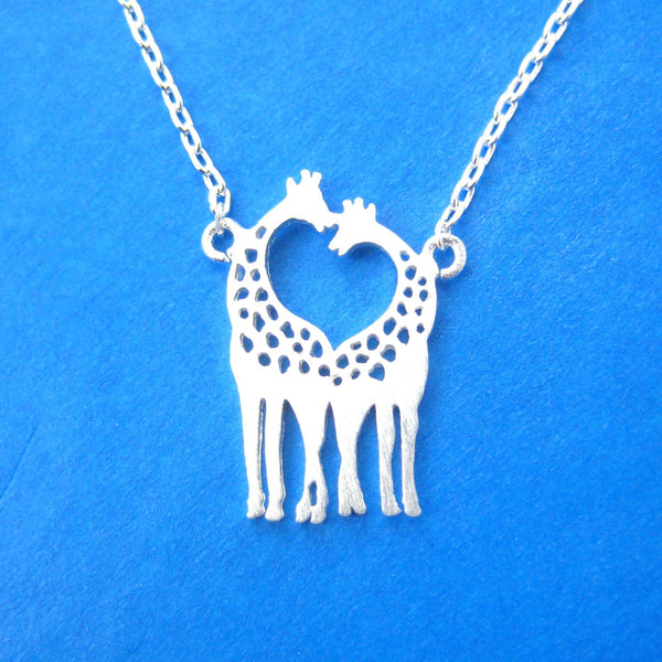 Kissing Giraffe Animal Shaped Silhouette Charm Bracelet in Silver | DOTOLY | DOTOLY