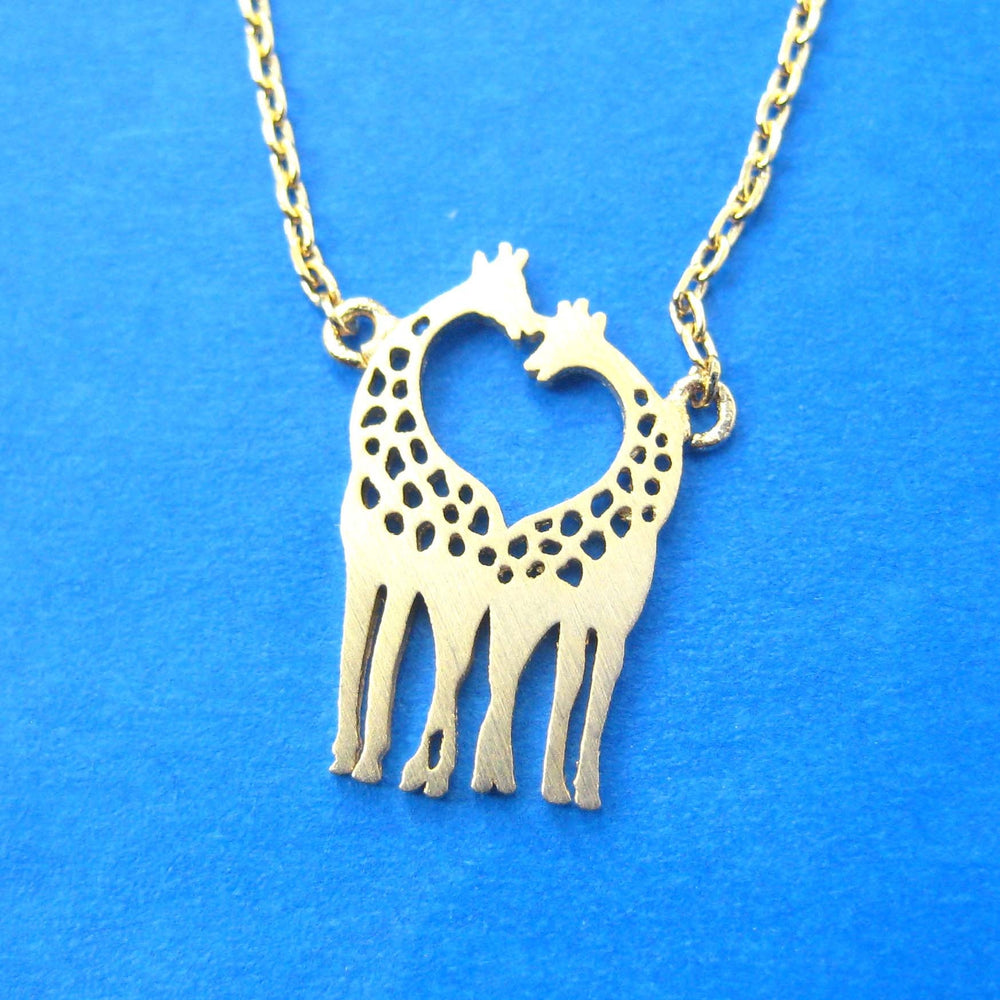 Kissing Giraffe Animal Shaped Silhouette Pendant Necklace in Gold