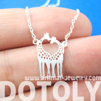 Kissing Giraffe Animal Shaped Silhouette Pendant Necklace in Silver